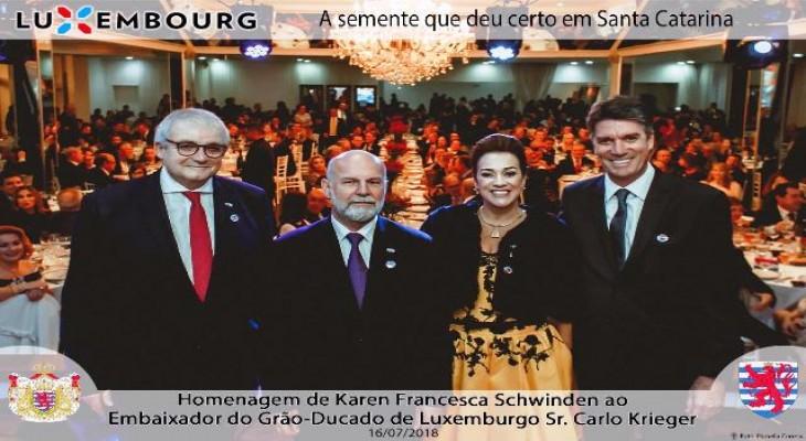 O prefeito de Palhoça, Camilo Martins, se reuniu com o embaixador do Grão-Ducado de Luxemburgo no Brasil, Carlo Krieger, e a cônsul Karen Francesca Schwinden