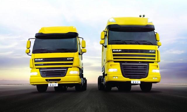 PACCAR-DAF-caminhões-amarelo-carga