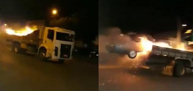 Caminhoneiro invade corpo dos bombeiros com caminhão pegando fogo
