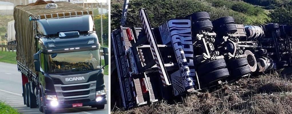 Caminhão pertencente à WP-Frutas tomba na Bahia Motorista passa bem