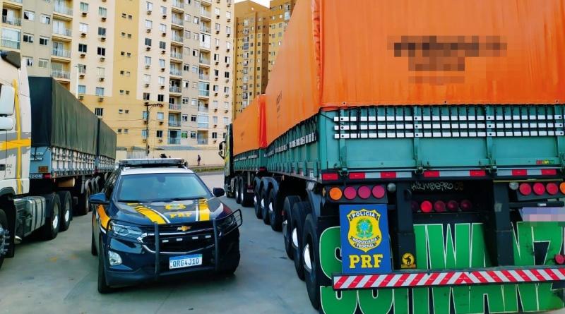 Dois bitrem de transportadora são apreendidos com sinais de adulteração nas carretas