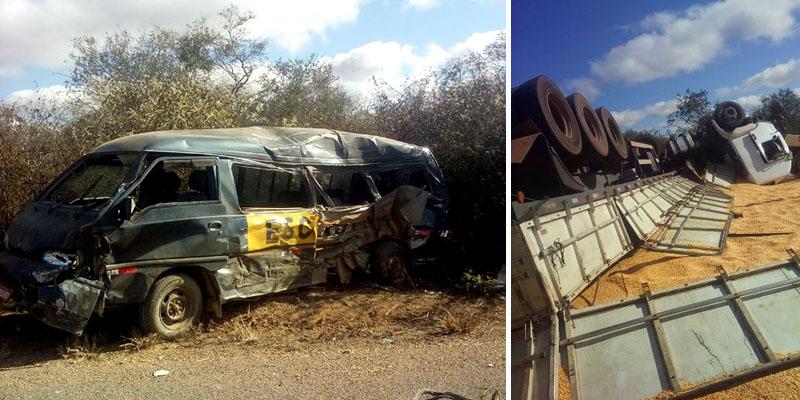 Chapada: Acidente entre van e carreta deixa dois mortos na região de Seabra; veja fotos