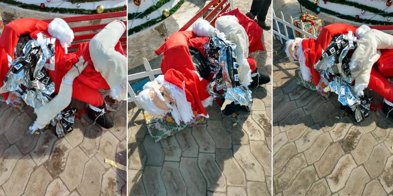 Chapada: Vândalos destroem parte de decoração natalina de praça pública em Barra da Estiva