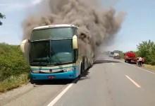 Photo of Chapada: Ônibus da Novo Horizonte que seguia para Vitória da Conquista pega fogo na região de Oliveira dos Brejinhos
