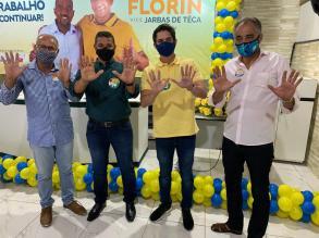 Marcelinho Veiga durante convenção em Santanópolis declara apoio a Florin e Jarbas de Teca - FOTO Divulgação