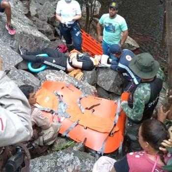 O caso foi registrado por volta das 15h, mas o resgate só foi concluído já próximo do anoitecer   FOTO: Reprodução/Léo Ricardo  