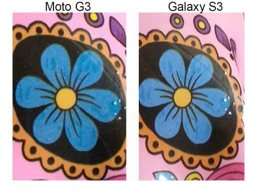 Zoom Moto G3 comparando com Samsung Galaxy S3