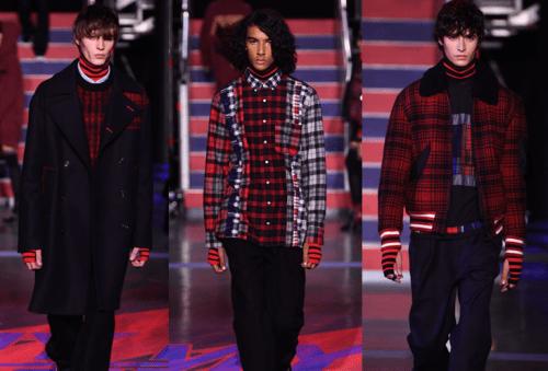 Tommy Hilfiger London Fashion Week 2017 - padronagem xadrez para moda masculina preto, vermelho e azul - casacos e camisas