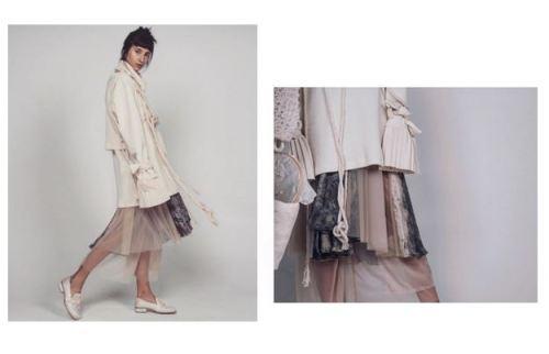 Neriage Casa de Criadores - transparência plissado, casaco, nude, bege, look