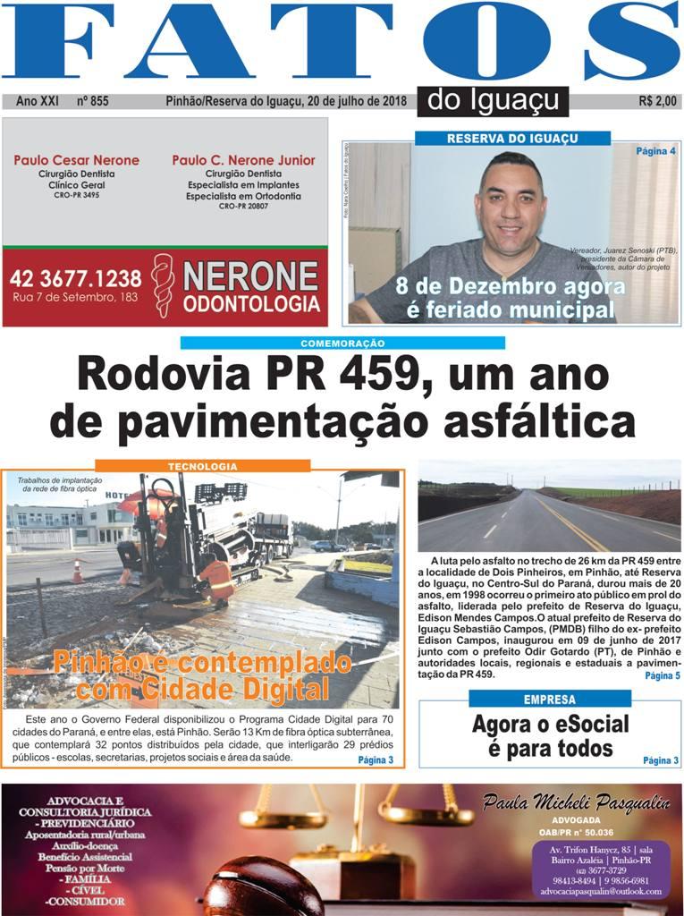 Capa e Editorial da Edição nº: 855