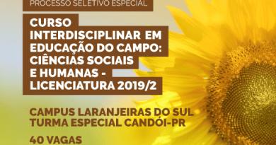 Últimos dias para inscrição no processo seletivo do Curso Interdisciplinar em Educação do Campo – Turma Candói