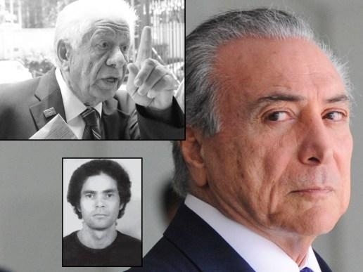 O torturador, Metralha, sua testemunha, Temer, e o torturado e desaparecido, Edgar Duarte