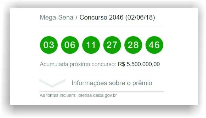 Resultado da Mega-Sena 2046 / Fonte da informação Loterias Caixa