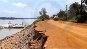 Desbarrancamento no rio Madeira coloca em risco estrada do Belmont