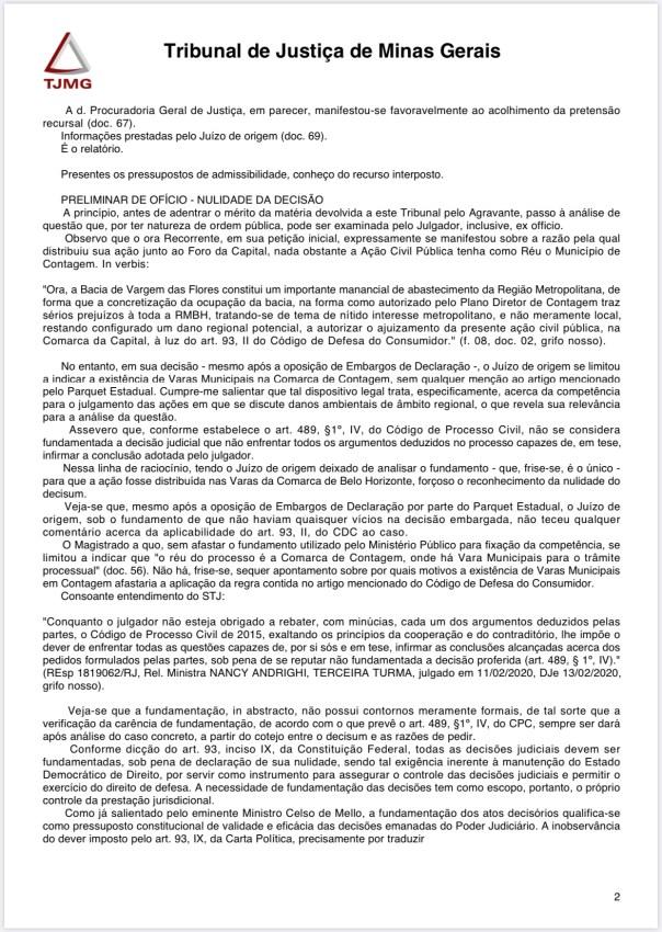 Página 2 - Acórdão proferido nos autos do agravo de instrumento n.º 1.0000.20.011534-3/001 / TJMG