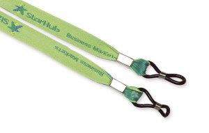 hellgrünes Brillenband mit Logo