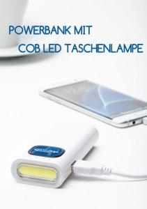 Werbeartikel Powerbank mit COB LED Taschenlampe
