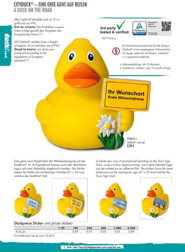 Werbeartikel City Duck Quietscheente