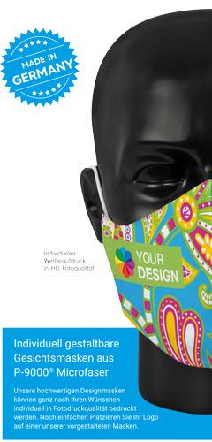 Mund-Nasen-Schutzmasken mit HD-Druck mit eigenem Motiv personalisierbar ab 25 Stück