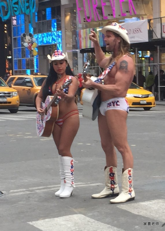 I believe the group found Times Square's famed Naked Cowboy a bit perplexing....