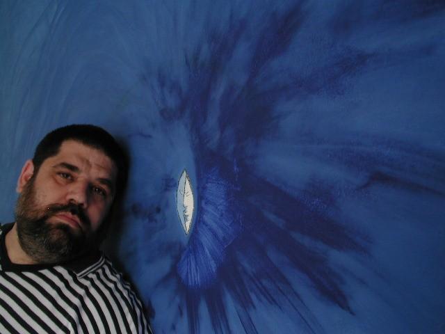 Ojo de Mar, Olokun, pintura del poeta Jose Antonio Gutierrez, en su pared de Caracas (2005)