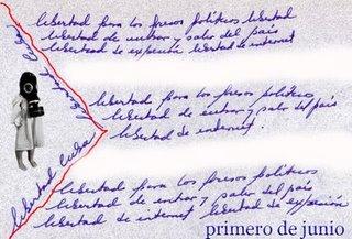 BANDERA ESCRITA CON LAS TRES EXIGENCIAS FUNDAMENTALES DEL 1 DE JUNIO...