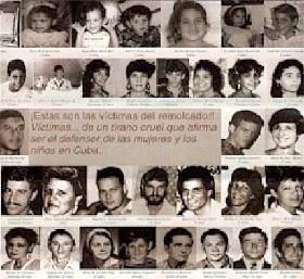 Fotos de los 37 asesinados por el castrismo, en el Remolcador 13 de Marzo.