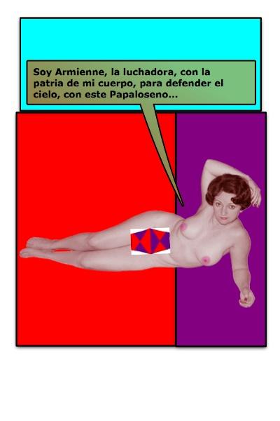 Segundo Papalote con Bandera, de Armienne, para su Blog El Desnudo en el Arte, hecho por Piero y Josán, con historieta de Josán Caballero.
