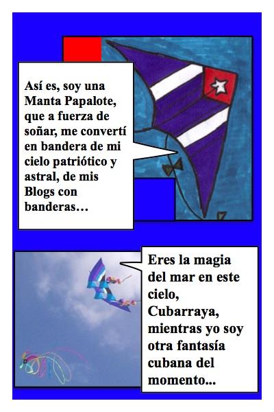 Papalote con Bandera del Blog con Banderas, hecha por Piero y Josán, con historieta de Josán Caballero.
