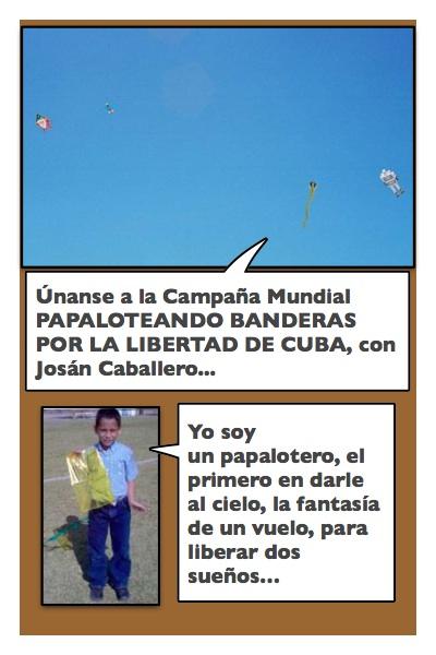 Los Papaloteros Cubanos en los cielos de Cuba y Miami, con historieta de Josán Caballero.