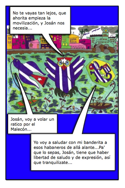 Papalotes Banderas de Josán Caballero, con sus historietas en el Malecón Habanero.