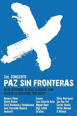 Afiche de Paz sin Fronteras de Juanes, en La Habana.