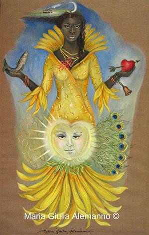 Muy bella Ochún, pintura de M. G.
