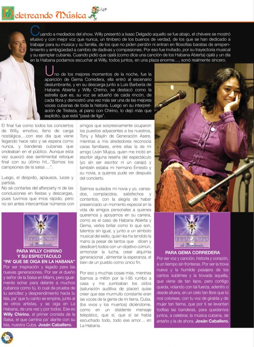 Página de la Revista BRUJULAR DE MIAMI, en donde se otorgan ambos Premios de Excelencia a Willy Chirino y Gema Corredera, respectivamente.