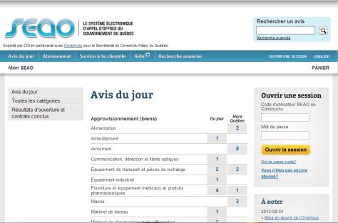 Système électronique d'appels d'offres du gouvernement du Québec - SEAO