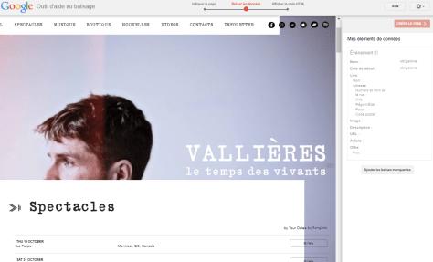 Google: outil de balisage de données structurées, page web de Vincent Vallières