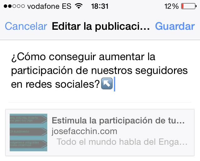 Facebook App - editar publicaciones en el móvil