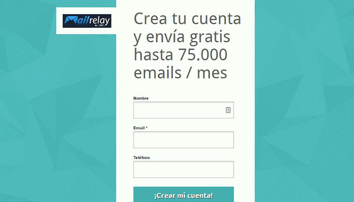 Formulario para crear tu cuenta en Mailrelay