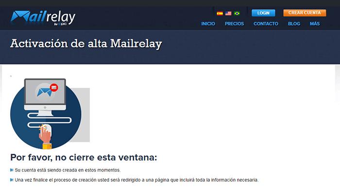 Mensaje de activación de alta en Mailrelay