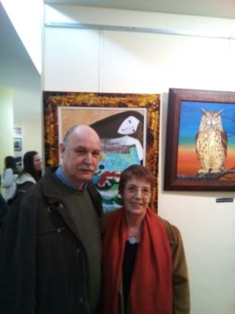 Con Marian Fariña na expo  de pintura sobre o castrexo en Marín. Marzo 2015