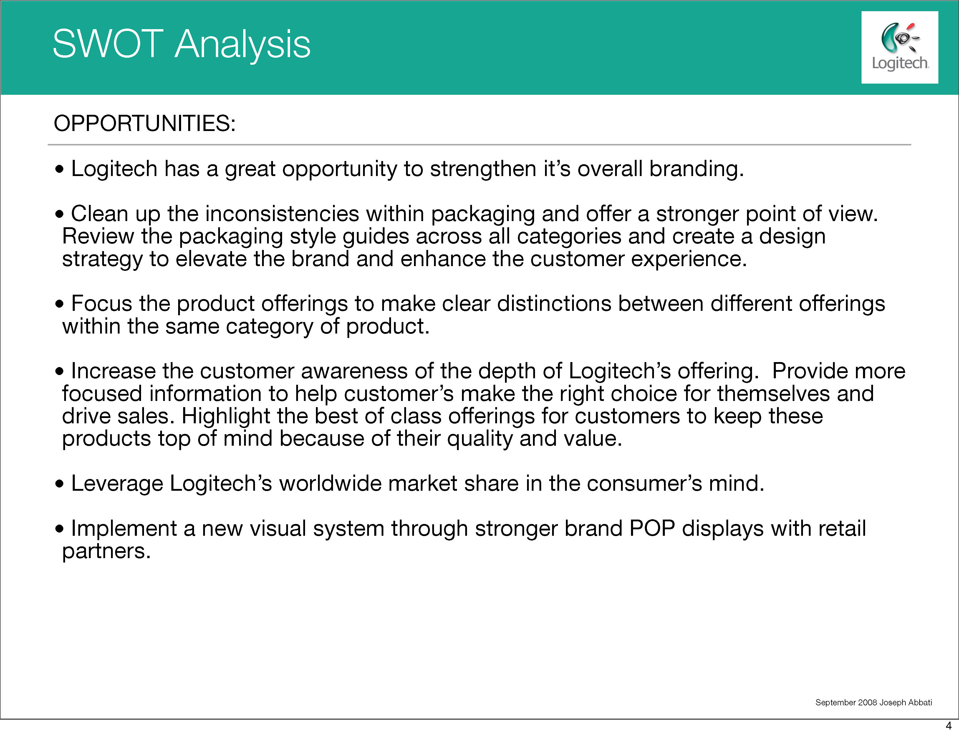 Logitech SWOT Analysis Joseph Abbati