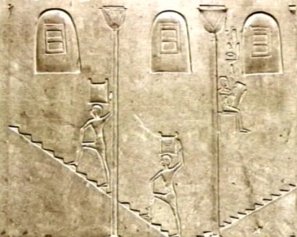 Heiroglyphs of Egyptians retrieving grain using an open stairwell. This was a great improvement on the tunnels of the first grain silo that were poorly ventilated and resulted in workers suffocating.
