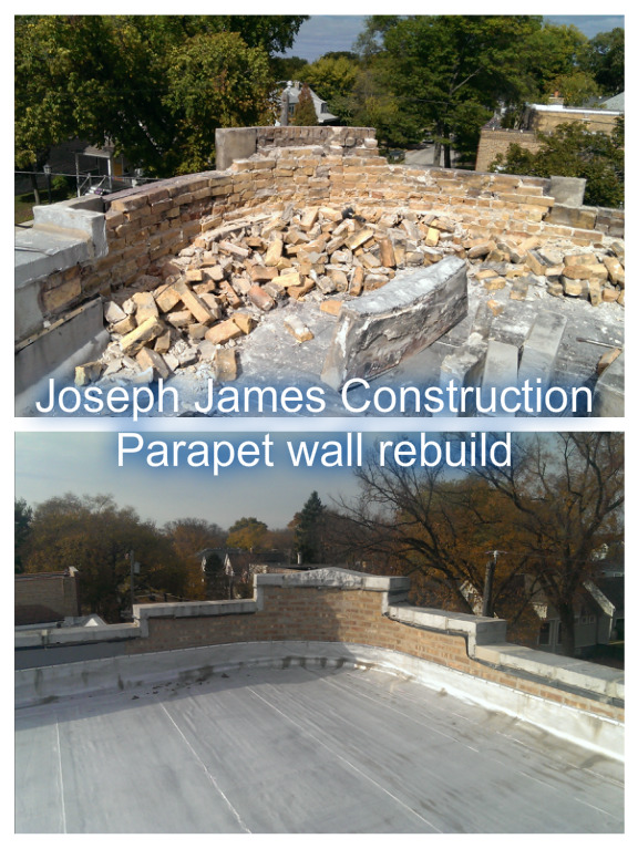 parapet wall repair in Evanston