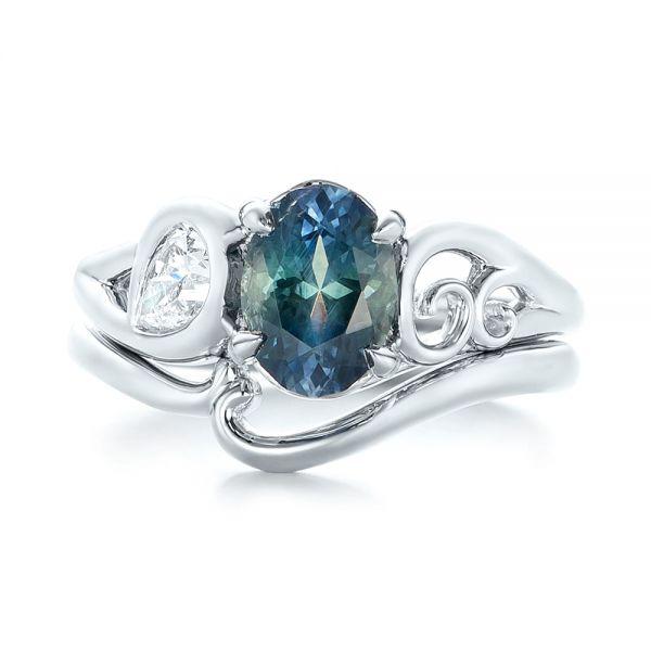 Custom Bluegreen Sapphire And Diamond Engagement Ring