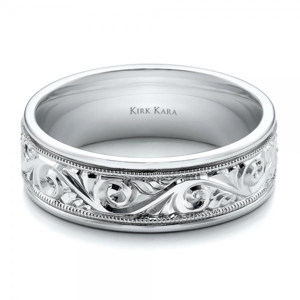 Hand Engraved Men's Wedding Band  Kirk Kara #100671