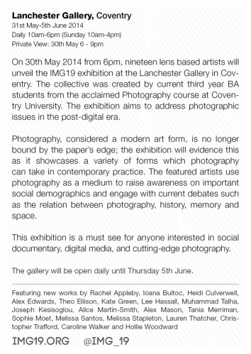 Catalogue Design IMG19 Photography Exhibition (30 May - 5 June 2014) at the Lanchester Gallery in Coventry, UK