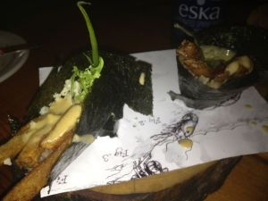 The poutine temaki.  I wasn't completely sold on the potato-rice combination.