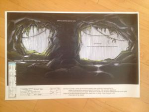 The grotto.  A mix of construction, set dec, greens, SFX mist and VFX green screen.