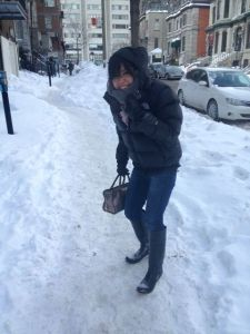 Akemi, regretting those rain boots.