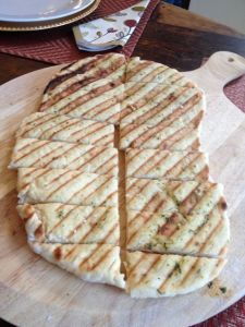 Home made flatbread with herbs and sea salt.